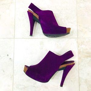 PEDRO GARCIA Slingback Sandals Suede Purple Paola